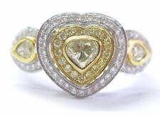 18Kt Fancy Yellow Diamond White Gold Heart Pear & Round Shape Ring .90Ct