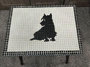 MOSAIC TILE MID CENTURY MODERN SIDE TABLE / WALL ART~BLACK SCOTTIE DOG VINTAGE