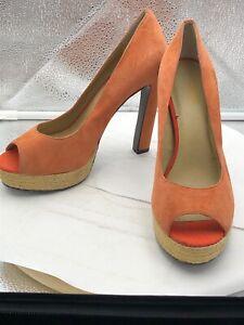 Levity Women 7.5 Pumps Tangerine Sharon Platform Stiletto Heels Leather Peep Toe