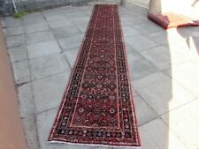 Vintage Traditional Hand Made Oriental Red Pink Wool Very Long Runner 514x82cm