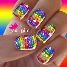 Nail Art Nail Decals Nail Transfers Nail Wraps - LOVE PEACE & RAINBOWS Decals
