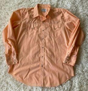 Vintage H Bar C Men's Pearl Snap Western Shirt Size 17.5/35 Peach Ranchwear