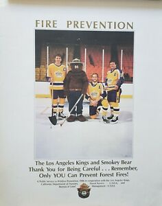 VINTAGE POSTER~Los Angeles Kings 1986 Smokey Bear Fire Marcel Dionne Dave Taylor