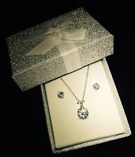 Xmas Gift For Her Silver Bridal Jewellery Crystal  Necklace & Earring set In Box