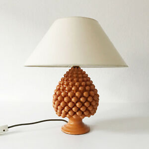 LOVELY Mid Century Modern PINEAPPLE Ceramic TABLE LAMP Light, 1970s, ITALY