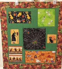 """Handmade  Halloween Quilt ~ Wall Hanging ~Witch~ Ghost~Black Cat, 24.5""""x22"""""""