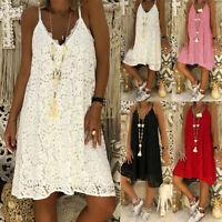 Summer Plus Size Women Lace Strappy Dress Casual Sleeveless Beach Sundress