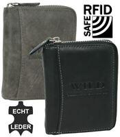 Herren Echt Leder Geldbörse mit RFID-Schutz und mit umlaufendem Reißverschluss