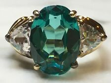 "Stunning 925 Silver Cocktail Ring ""Paraiba"" Oval 13x9mm Gem Stone Estate Loose"