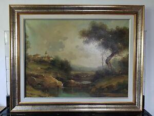 Large Original Impressionist Italian Landscape Oil Painting Signed Piacenza