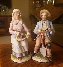"Homco #1433 ""Golden Years"" Elderly Farming Couple Porcelain Figurines 7.75"""