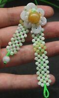Schöne 3 Farben Natur Grade A JADE Jadeit Blütenblatt Armreif AA ++