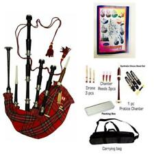 More details for scottish royal stewart bagpipes silver amounts/rosewood black bagpipe