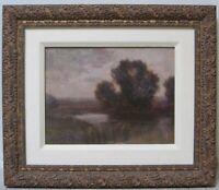Early American Oil Tonalist Impressionist Landscape Hudson River ALEXIS COMPARET