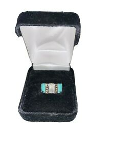 Sterling Silver Marcasite & Turquoise-like Ring Size 6.75