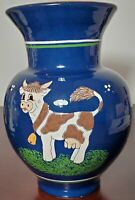 Hungarian Majolika Pottery Vase With Cow Hand Made/Painted By Special Process