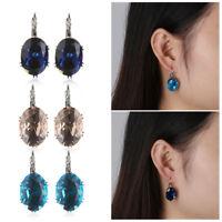 Jewelry Gift Hoop Earrings Crystal Zircon Ear Stud Clip Blue Sapphire Topaz