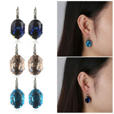 Jewelry Gift Hoop Earrings Crystal Zircon Ear Stud Clip Blue Sapphire Topaz