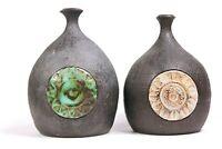 Vintage Pair of Studio Art Pottery Vases Circa 1960
