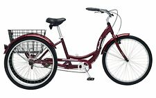 Schwinn Meridian Adult 26-Inch 3-Wheel Bike (Black Cherry) Basket Beach Cruiser