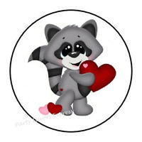 "30 CUTE RACCOON ENVELOPE SEALS LABELS STICKERS PARTY FAVORS 1.5/"" ROUND"