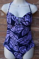 OLD NAVY Women's Swimsuit One Piece Butterfly Purple Blue Backless Halter Size M
