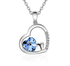 Fashion Womens Blue Heart Crystal Rhinestone Silver Chain Pendant Necklace