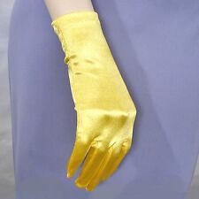 Wrist Length Shortie Smooth Satin Stretch Gloves - Prom Formal Wedding Dance