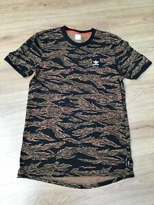 MENS BLACK BROWN MULTI PATTERNED CAMOUFLAGE SHORT SLEEVE T SHIRT ADIDAS EX CON