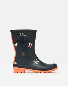 Joules Womens Molly Mid Height Printed Wellies - Navy Beach Dogs