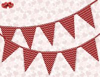 Valentine's Hearts  Valentines Day Themed Bunting Banner 15 flags by PARTY DECOR