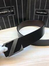 Zegna Belt Black Mens Belt Silver Buckle 1.5 Inch Gorgeous Size 100 size 36 Ok
