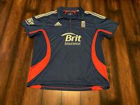 Men's Adidas Blue England Three Lions Cricket Athletic Shirt 2XL Climacool