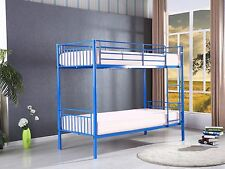 Childrens Blue Saffron Metal Bunk Bed Twin Sleeper Kids Frame With 2 Mattresses