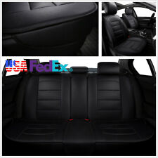 Black Durable PU Leather 5-Seats Car Seat Cover Front & Rear Full Interior Set