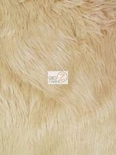 SOLID GORILLA MONKEY SHAGGY FAUX FUR FABRIC - Camel - BY YARD COATS SCARF RUGS