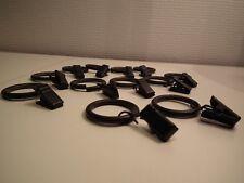 lot de 12 anneaux en métal noir pour tenture (diamètre: 3 cm)