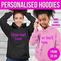 Boys Personalised Hoodie Custom Text Funny Hoody Sweater Mens Ladies School