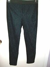 Material Girl Junior's Black Lace-Front -Plain Back Leggings Size Large