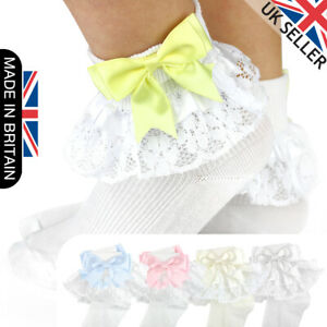 GIRLS BABY SPANISH BOW SOCKS DOUBLE RIBBON BOW FRILLY LACE ANKLE SOCKS NEW KIDS