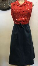 True Vintage MD Dress ILGWU Union Made Pin Up Dots Rockabilly Retro Hipster S 14