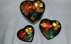 3 heart shape nested boxes