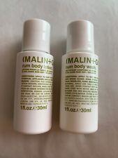 * LOTE * Malin + Goetz RUM lavado de cuerpo y Loción Essentials Duo de viaje 30ml cada uno