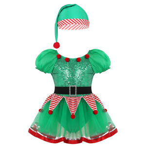 Kids Girls Christmas Dress Costume Dancewear Short Puff Sleeves Sequined Outfit
