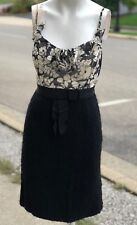 Milly New York Ruffle Collar Black White Wool Bottom Daisy Floral Dress Size 2