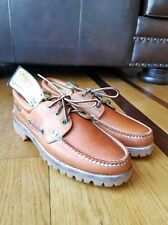 Vintage TIMBERLAND Oiled Leather Lace Up Boat Deck Dockers Shoe Vibram Soles 8.5