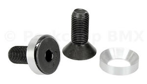 """3/8"""" X 24T crank spindle bolts w/ concave washers fits Profile (PAIR) BLACK"""