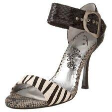 "Naughty Monkey Guilt Trip Black and White snake embossed 3.75"" heels 7.5 Md NEW"