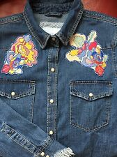 ZARA BLUE FLORAL EMBROIDERED DENIM SHIRT BLOUSE TOP PATCHES FRAYED SLEEVES M