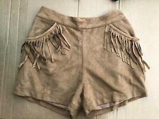 Hollister Brown Vegan Suede Shorts Boho Fringe Size  5